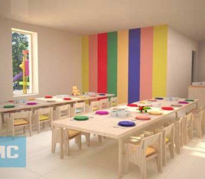 Thiết kế nội thất trường mầm non khu vực nhà ăn